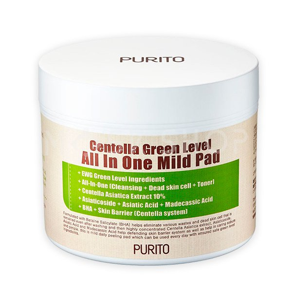 Увлажняющие пэды с центеллой PURITO Centella Green Level All In One Mild Pad (70 шт) фото