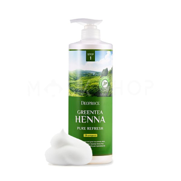 Шампунь для волос с экстрактом зеленого чая и хной Deoproce Green Tea Henna Pure Refresh Shampoo 1000 мл фото