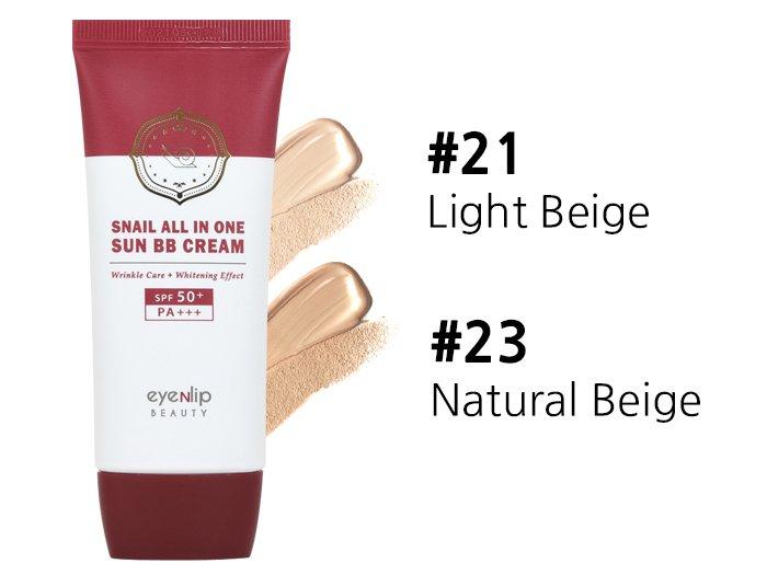 Купить BB крем с муцином улитки Eyenlip Snail All In One Sun BB Cream #21 Light Beige