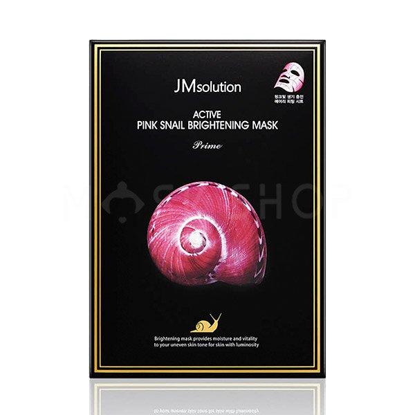 Тканевая маска для сияния кожи с муцином улитки JMSolution Active Pink Snail Brightening Mask Prime фото