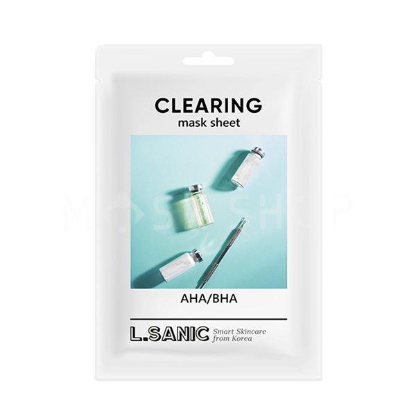 Очищающая тканевая маска с кислотами L.Sanic AHA/BHA Clearing Mask Sheet фото