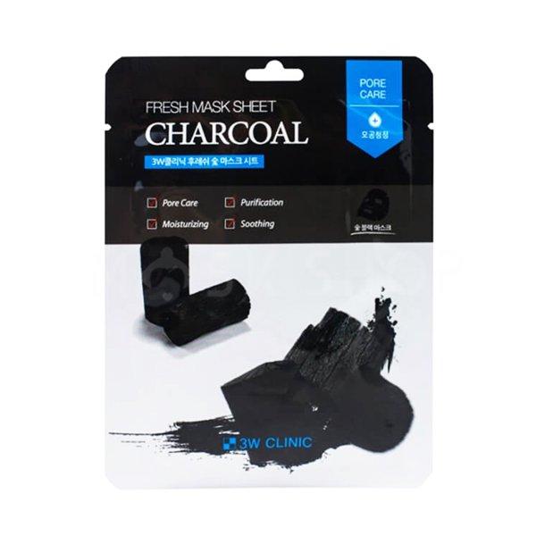 Тканевая маска для лица с древесным углем 3W CLINIC Fresh Charcoal Mask Sheet фото