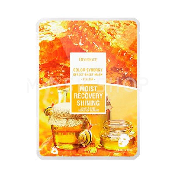 Тканевая маска с улиткой, медом и ромашкой Deoproce Moist Recovery Shining Honey & Snail Secretion Filtrate Mask