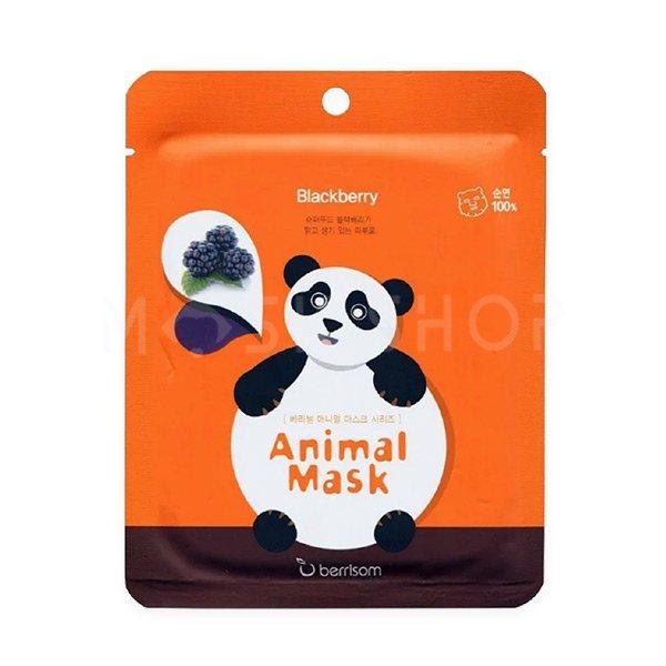 Тканевая маска с экстрактом ежевики Berrisom Animal Mask Series Panda фото