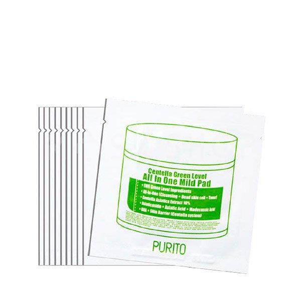 Увлажняющие пэды с центеллой PURITO Centella Green Level All In One Mild Pad (10 шт) фото