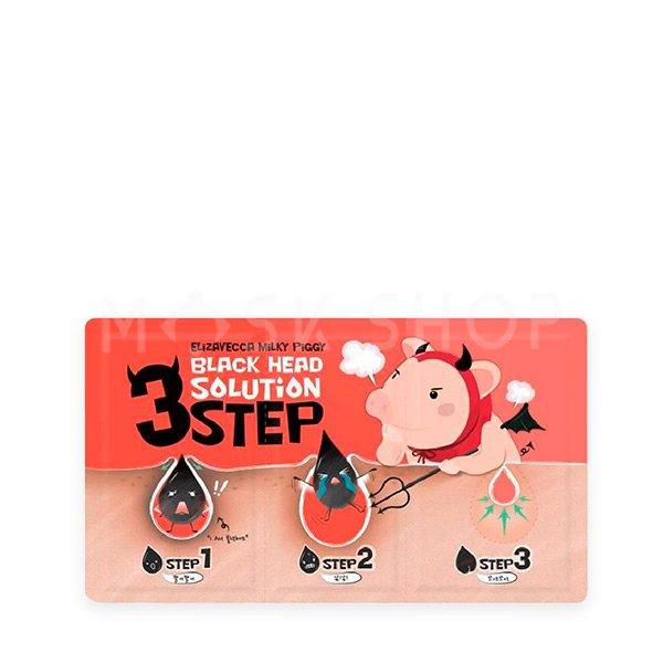 Набор для удаления черных точек Elizavecca Black Head Solution 3 Step Nose Strip фото