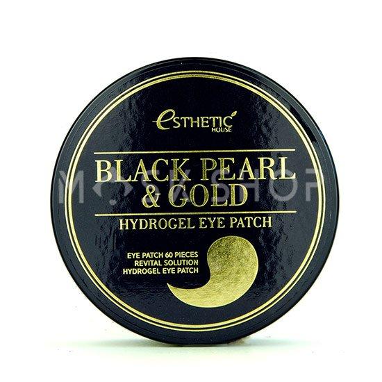Гидрогелевые патчи для глаз с черным жемчугом и золотом Esthetic House Black Pearl & Gold Hydrogel Eye Patch фото