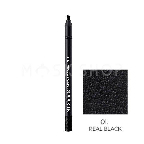Автоматический гелевый карандаш для глаз G9SKIN First Auto Gel Eyeliner Real Black 01 фото
