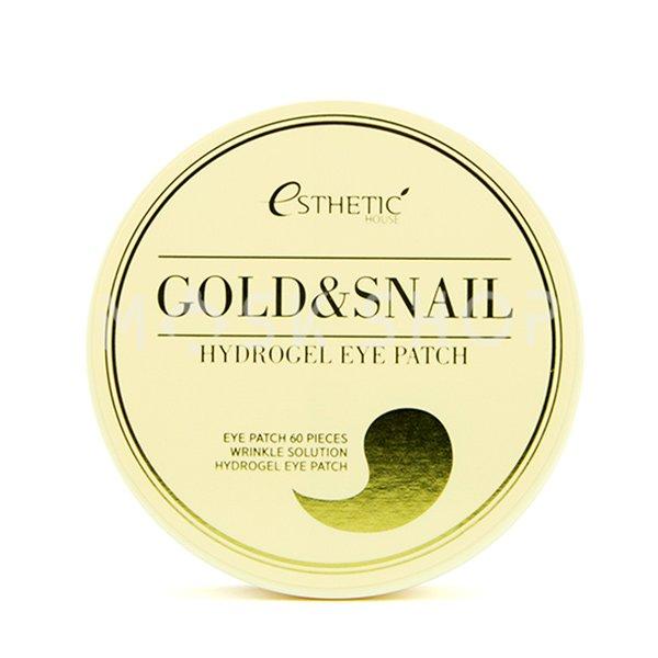 Гидрогелевые патчи для глаз с золотом и муцином улитки Esthetic House Gold & Snail Hydrogel Eye Patch фото