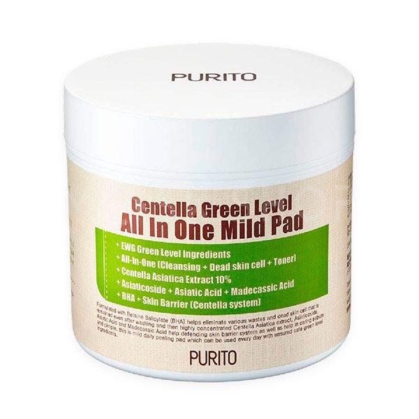 Увлажняющие пэды с центеллой PURITO Centella Green Level All In One Mild Pad: отзывы, состав, способ применения