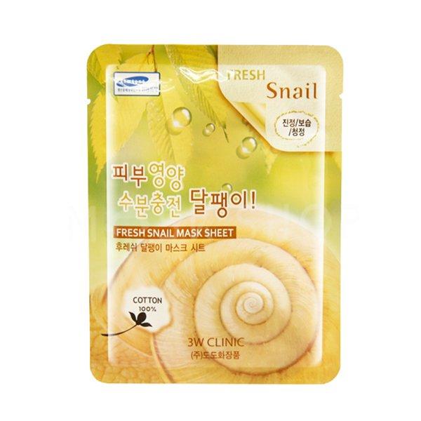 Тканевая маска для лица с муцином улитки 3W CLINIC Fresh Snail Mask Sheet фото