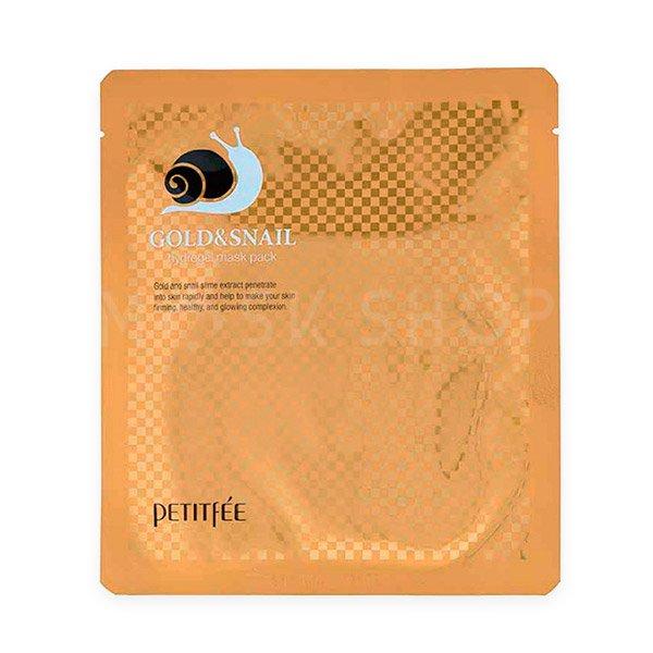 Гидрогелевая маска с золотом и улиточным муцином Petitfee Gold & Snail Hydrogel Mask Pack фото