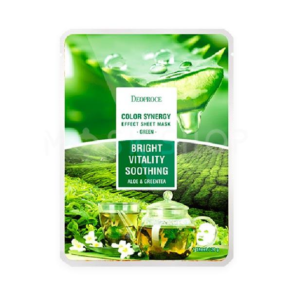 Тканевая маска с экстрактом алоэ и зеленого чая Deoproce Bright Anti-Oxidant Soothing Aloe & Green Tea Mask фото