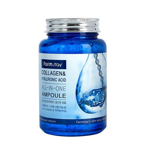 Купить Сыворотка с гиалуроновой кислотой и коллагеном Farm Stay Collagen Hyaluronic Acid All In One Ampoule