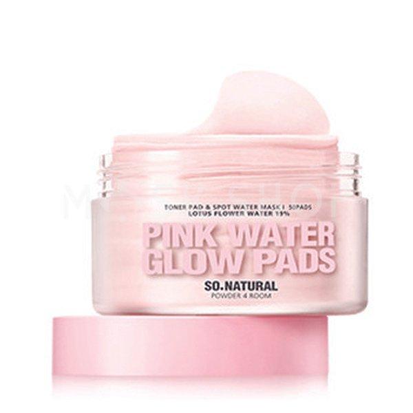 Увлажняющие пэды с лотосом и керамидами So Natural Pink Water Glow Pads фото