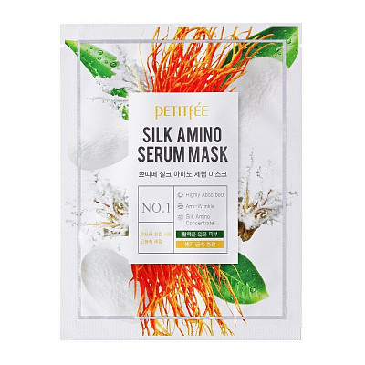 Лифтинг-маска для сияния кожи Petitfee Silk Amino Serum Mask