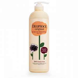 Шампунь-бальзам 2 в 1 с экстрактом черных бобов Deoproce Original Hair Root Care Shampoo Rinse Black Been