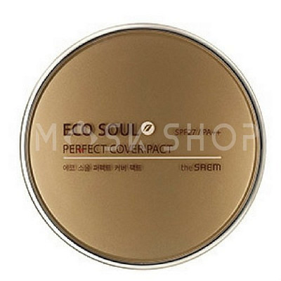 Компактная пудра The Saem Eco Soul Perfect Cover Pact 23 Natural Beige. Фото №2