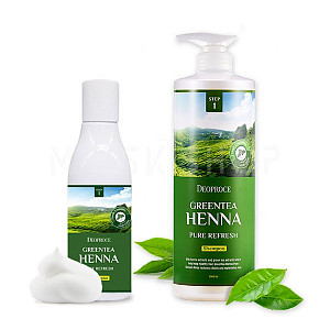 Шампунь для волос с экстрактом зеленого чая и хной Deoproce Green Tea Henna Pure Refresh Shampoo
